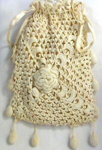 Vintage Handmade Dimensional Crochet Ivory Bag Pouch Rose Floral Sack Handbag