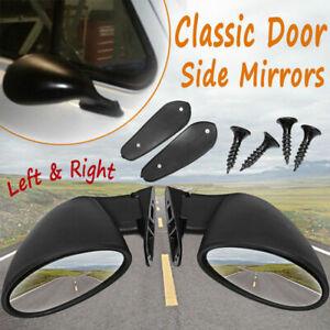 Pair Universal Vintage Car Door Side View Wing Mirror Matte Black w/ Gaskets 2x