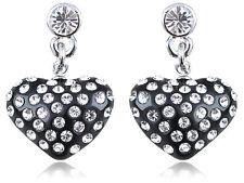 Petite Crystal Elements  Encrusted Black Heart Fashion Drop Earrings