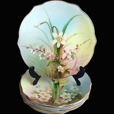 Beautiful SET OF 6 ROYAL WORCESTER BOTANICAL DESSERT PLATES c.1905, exc cond
