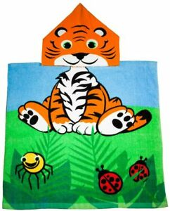 Kidz Swimmers Baby Toddlers Tiger Hooded Beach Towel  Poncho 100% Cotton