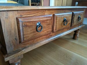 Coffee Table Colonial Style Jali Sheesham Indian Rosewood Drawer Unit Solid Wood