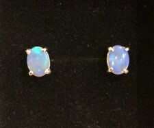 Australian Natural Solid Crystal Opal Earrings Sterling Silver Setting 6x8 mm