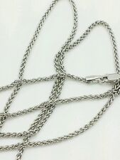 """14k White Gold Round Wheat Necklace Pendant Chain 24"""" 1.5mm"""
