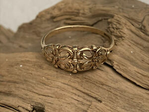 Vintage H/M 9ct Gold open work Pierced Decorated Ladies Men's Ring size R1/2