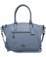 Coach NY Elise Lake Blue 79316 Leather Handbag Leather Medium Shoulder Bag NEW