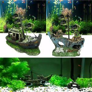 Aquarium Fish Tank Cave Decor for Wreck Sunk Boat Air Split Shipwreck Decor US