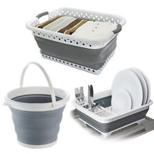 SET OF COLLAPSIBLE FOLDING DISH DRAINER RACK LAUNDRY CLOTH BASKET & WATER BUCKET