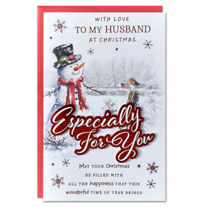HUSBAND CHRISTMAS CARD ~ EXTRA LARGE 8 PAGE VERSE ~ QUALITY CARD LOVELY VERSE