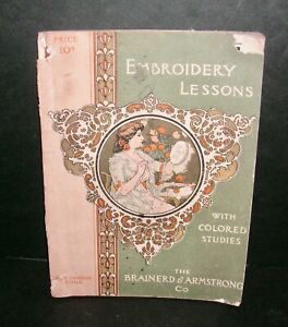 Antique Brainerd & Armstrong Co. Embroidery Lessons w/ Colored Studies - 1900