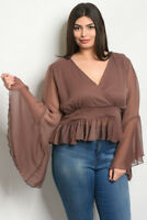 Womens Plus Size Mocha Brown Bell Sleeve Wrap Style Top 2X New