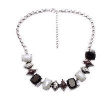 Fashion Grueso Babero Collar Distinguido Collar Piedras Diamante Negro Gris Blanco Reino Unido
