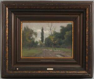 Antique ALADAR EDVI-ILLES Hungarian Impressionist Bucolic Sheep Oil Painting