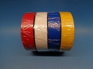 (4) Shurtape EV057 UL 600V Electrical Tape 3/4in x 66ft RED WHITE BLUE & YELLOW