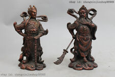 7 China Pure Bronze Guan Gong  Wei Tuo Veda General two Bodhisattva Statue