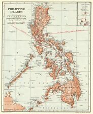 1914 Antique PHILIPPINES Map VINTAGE Map of the Philippine Islands Map 7914