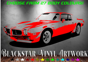 """70 PONTIAC TRANS AM ANY BODY COLOUR LARGE MAN CAVE DECAL WALL ART 23"""" X 54"""""""