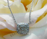1Carat D/VVS1 Diamond 14K Solid White Gold Over Oval Necklace Halo Pendant