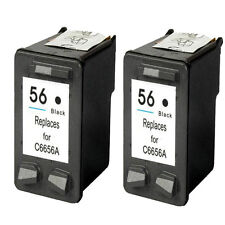 2 Replaces For HP 56 Black Ink Cartridges Printer C6656A