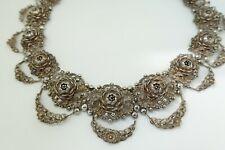 Vintage Maltese? hallmarked silver filigree necklace collar - flowers - 120g