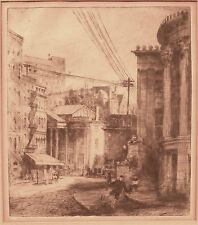 Frederick Harer c.1905 Ashcan School etching Philadelphia artist Stock Exchange