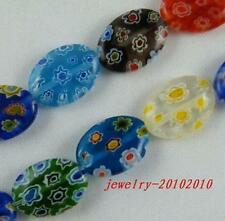 80pcs  Millefiori Glass Mixed Oval Bead Spacers 10x14mm P207