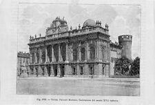 Stampa antica TORINO veduta di Palazzo Madama 1889 Old print