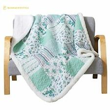 Soul Lane Printed Cotton Throw Blanket in Full Bloom with White Fleece/Sherpa