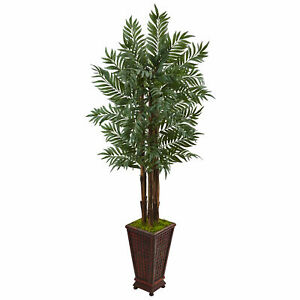 Nearly Natural 5' Parlor Palm Tree in Wooden Decorated Planter Realistic Decor