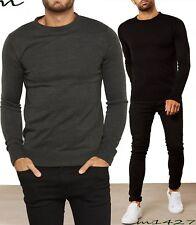 Hombre Suéter Jersey de Cuello Redondo Invierno Cálido Negro Talla S M L XL Ribb