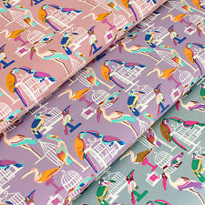 100% Cotton Printed Fabric FQ Flamingo Parrot Hornbill Crane Bird Cage Mew VS22