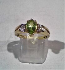 9k Gold 9ct solid gold  peridot an diamond size N/N1/2  Hallmarked  R071