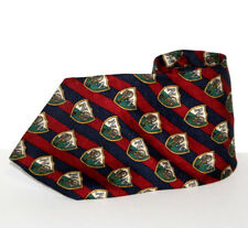 "Nautica Mens Silk Necktie Red Blue Green Tennis Crest Coat of Arms 56"" x 4"""