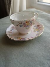 "New Listing""1850 E B Foley"" Bone China England Cup & Saucer Light Pink W/ Field Flowers"