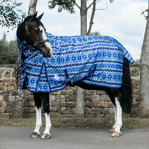 Derby House Print Xmas Jumper Medium Combo Horse Rug Turnout - Cornflower Blue