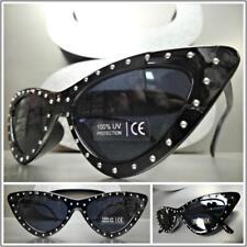 Classy Elegant Exotic Funky Retro Cat Eye Style Sun Glasses Black Studded Frame