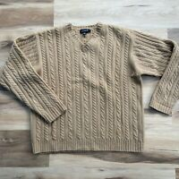 Vintage J. Crew Men's Large Long Sleeve Lambswool Sweater Cable Knit Camel Tan