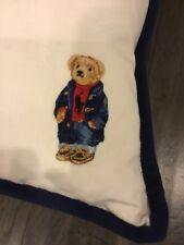 "Polo Bear Ralph Lauren Throw Pillow Size 20"" X 20"" New Plaid White Red"