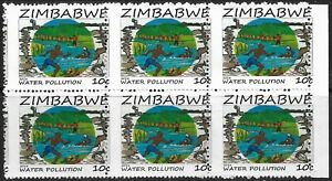 Zimbabwe 2016 Water Pollution 10c Perf Shift Block of 6 Superb MNH