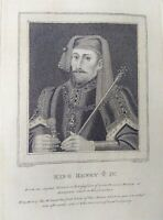 "Gravure ancienne anglais ""King Henry Y IV"", Harding, engraving english,18eme."