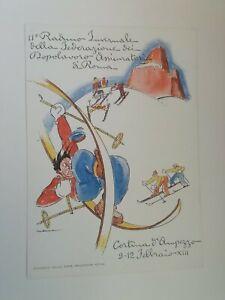 Cartolina Raduno invernale federazione dopolavoro assicuratori Cortina D'Ampezzo