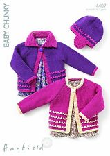 Hayfield Baby & Childs Knitting Pattern Cardigans & Hat- 4407 - Baby Chunky