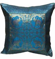 "Indian patchwork mandala sari ethnic silk Banarsi cushion covers elephant 17"""