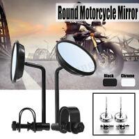 Pair Universal Round Motorcycle Motor Bike Handlebar Mirrors Cafe Racer Bobber