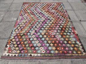 Vintage Kilim Traditional Hand Made Oriental Grey Blue Wool Kilim Rug 233x170cm