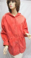 BALLY'S SUEDE Stylish Coral Orange JACKET With a hoody SZ 10