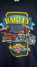 HARLEY-DAVIDSON 1987 FLHT Road King shirt vintage licensed blue Holoubek LG New