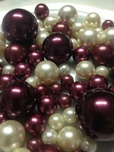 Burgundy Ivory Pearl Vase Filler, DIY floating pearl centerpieces 80pc no hole