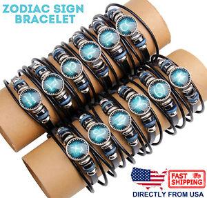 Unisex Astrology Constellation Zodiac Sign Horoscope Leather Wristband Bracelet