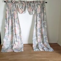 Vintage J.C. Penney Floral Panels Waterfall Valances Gray Pink Cream 86W x 84L
